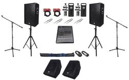 """Rockville 15"""" Speakers+Monitors+Mixer+Mics+Stands+For Chu"""