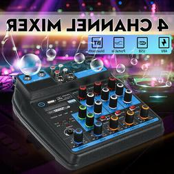 4 Channel Audio Mixer USB bluetooth Stereo Mixing AUX Consol