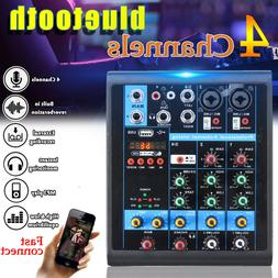 4 Channel Audio Mixer USB Mixing Console with bluetooth for