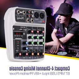 Mixing Console Digital Audio Mixer 4-Channel BT MP3 USB +48V