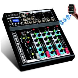 4 Channel Bluetooth Audio DJ Mixer Sound System, with 48 Pha
