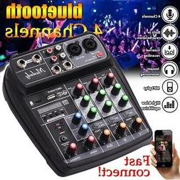 4 Channel USB Audio Mixer Mixing Console Bluetooth Record 48