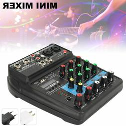 4 Channels Mini USB Audio Mixer Console with Bluetooth Recor
