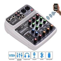 4Channel Live Studio Audio Mixer Mixing Console USB 48V Phan