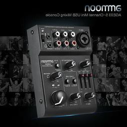 ammoon 5 Channel Audio Mixer Mixing Console Amplifier Built-