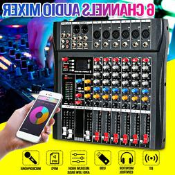 6 Channels 6 Music Modes Audio DJ Mixer USB bluetooth Mixing