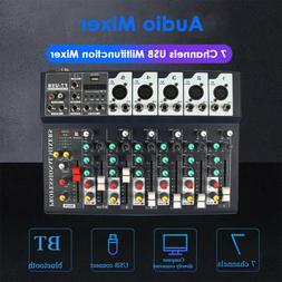 7 Channel USB MP3 Stereo Sound Mixer Audio bluetooth Record