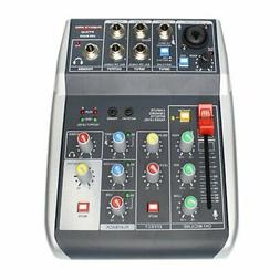Audio USB Mixer with Effects 4-Channel 3-Band EQ USB Powered