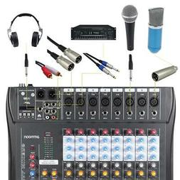 ammoon 8 Channel Live Studio Audio Mixer Console USB with 48