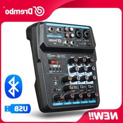 Drembo M-4 Mini Mixer Audio DJ Console with Sound Card, USB,