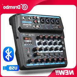 Drembo M-6 Mini Mixer Audio DJ Console  with Sound Card, USB