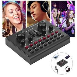 Audio Mixer Live Sound Card Voice Changer Metal Shell f Phon