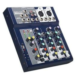 F4 Audio Mixer 4-Channel Bluetooth Mixer with USB for Home,S