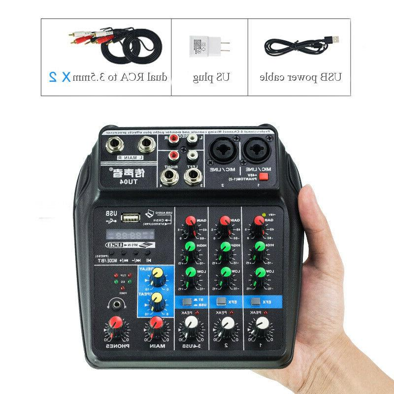 4 channel audio mixer usb mixing console