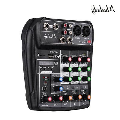 4 Channel Mini Audio Mixer With USB DJ Sound Mixing Console
