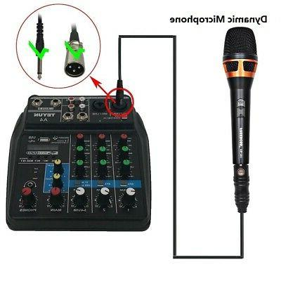 Sound Mixing Console with Bluetooth Record 4 Channels Audio