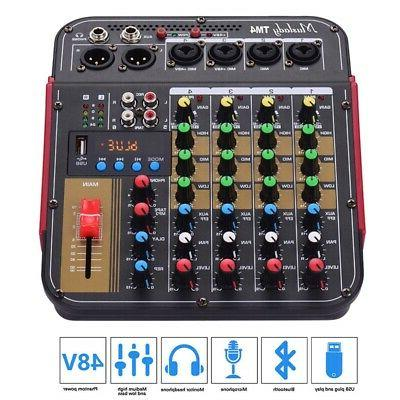4 Channel Audio Mixer USB Mixing Console Bluetooth for Karao