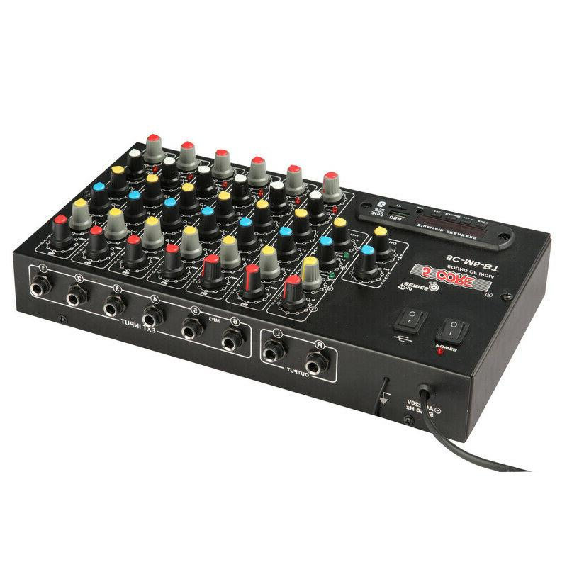 6 Channel Mixer USB Bluetooth for Podcast