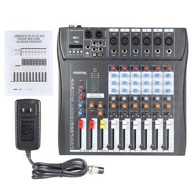 6 Channel Audio Mixer USB Professional Studio DJ Mixing Cons