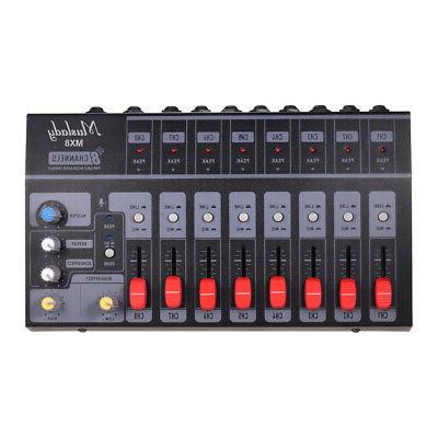 8 channels stereo audio sound mixer