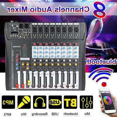 8 channel audio mixer usb mixing console