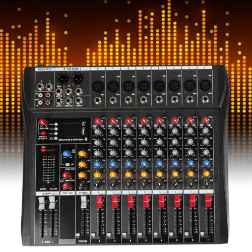 Pro 8 Channel Powered Audio Mixer Power Mixing DJ Amplifier