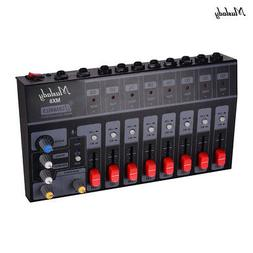 Muslady 8 Channels Stereo Audio Sound Mixer Low Noise with E