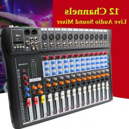 NEW 12 Channel Live Studio Stereo Audio Mixer Sound Mixing D