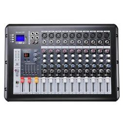 Pro Powered Audio Mixer 10 Channels Studio Power Mixing Ampl