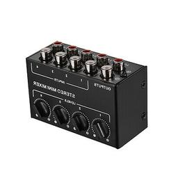 Mini Stereo Audio Mixer with 4-Channel RCA Inputs Separate V