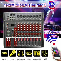 US 8-Channel Audio Mixer DJ USB Bluetooth Live Studio Stage