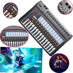 USB 12 Channel Mixer Professional Stage Audio US Powered Mix