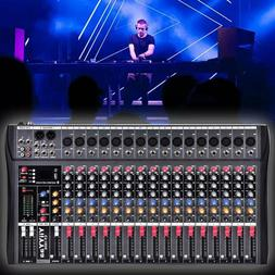 YIIYYAA 16 Channel  Professional Live Studio Audio Mixer Pow